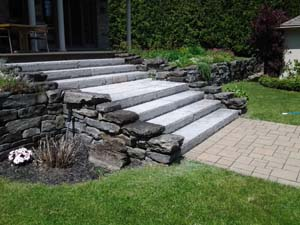 Natural stone wall and steps, with unistone walkway (B)